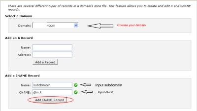 setting up cnane record for subdomain shortlink