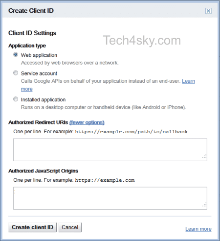 call back path and configuration of client ID