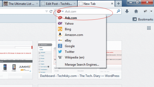 right bar change search engine from drop-down menu