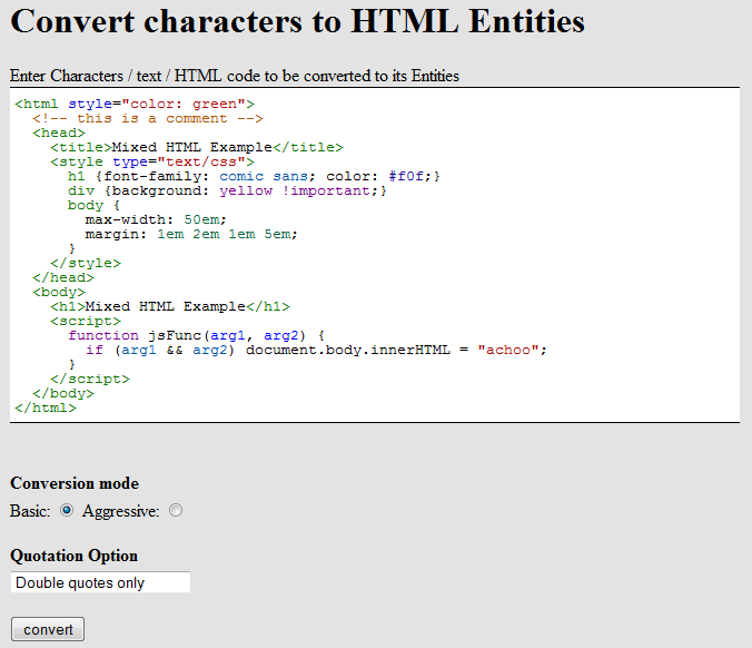 Simple PHP Tool for Converting Character to HTML entities
